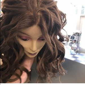Accessories - Wig Brown Long  Fullcap Curly up in a ponytail wig